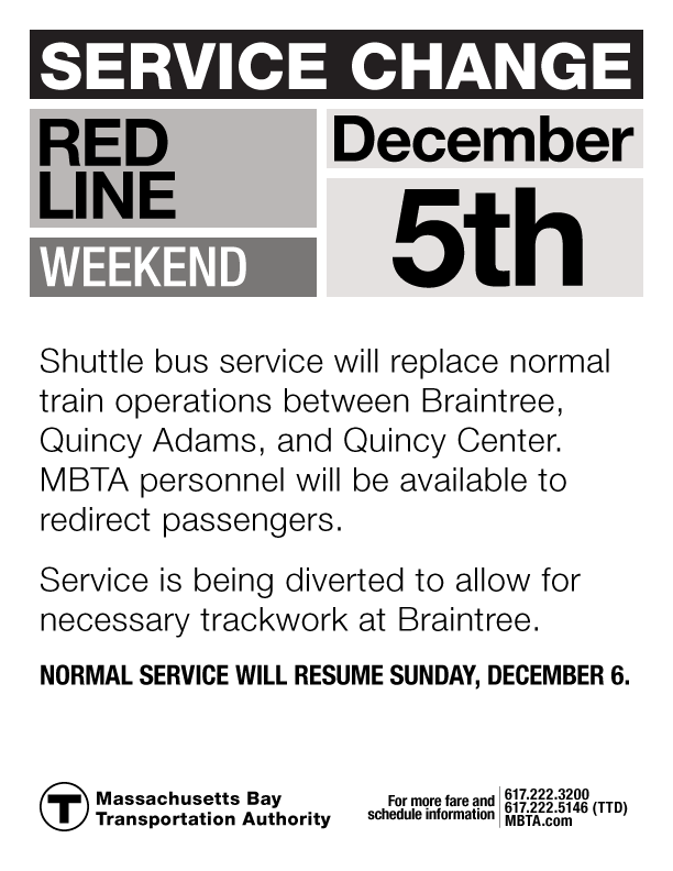 Revised Red Line Service Change Notice