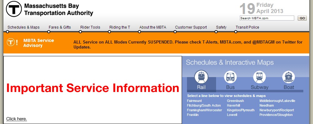 The MBTA's web site very prominently features the system's closure.