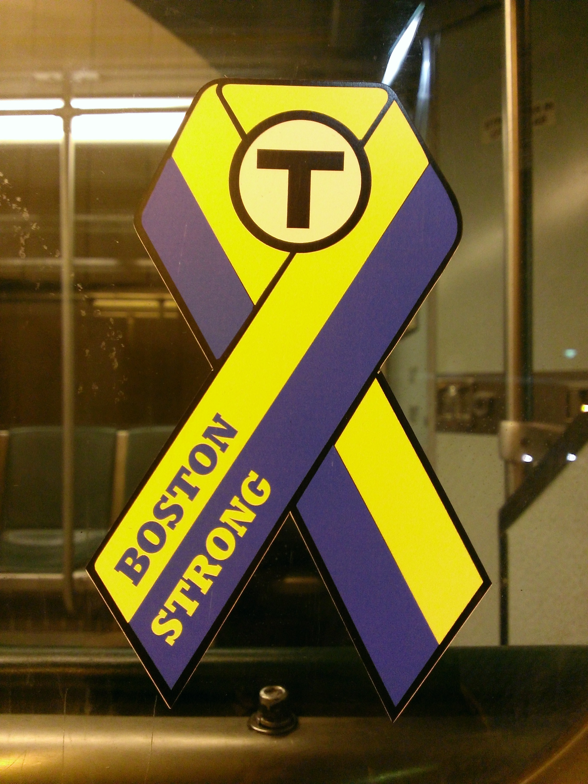 Ribbon stickers have started showing up on Green Line trains
