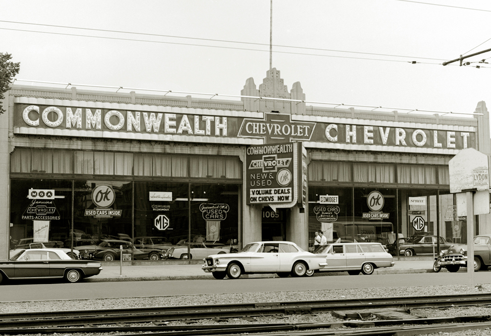 Commonwealth Chevrolet, now the site of a Packard's Corner supermarket (source: BAHS)