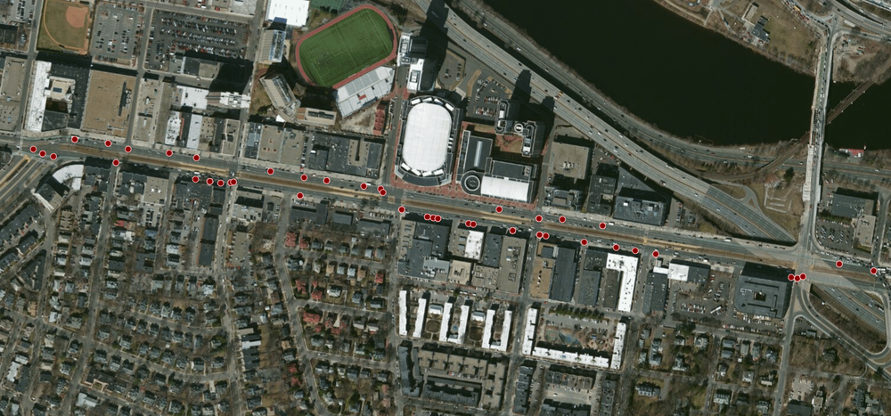 Locations of crashes involving a bicycle in Phase 2A scope (Boston Cyclists Union)