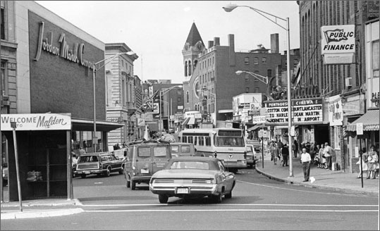 Malden Center circa 1970 [Source: Globe File Photo]