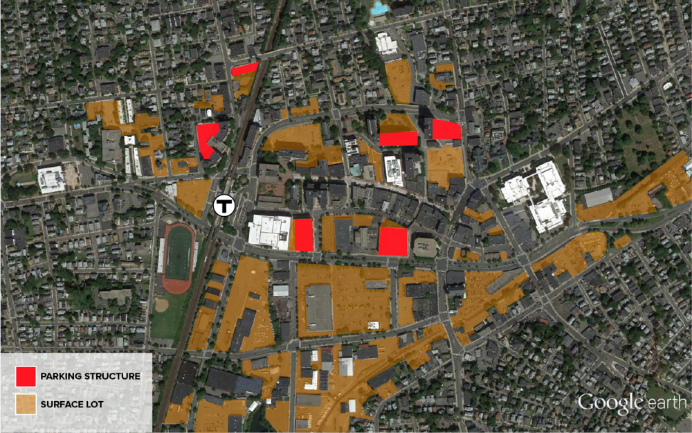 The surface lots and major parking structures within walking distance of the Malden Center station largely isolates downtown from the rest of Malden's residential fabric.
