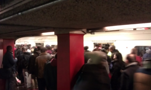 Over Capacity:  This train sat in the Downtown Crossing station for 2.5 minutes due to overcrowding.