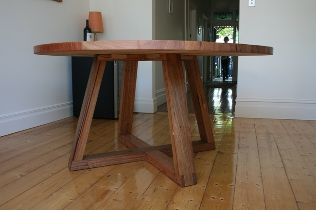 Recycled timber round dining table