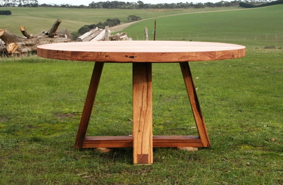 Round Table For 4 Diameter: Recycled Timber Round Dining Table