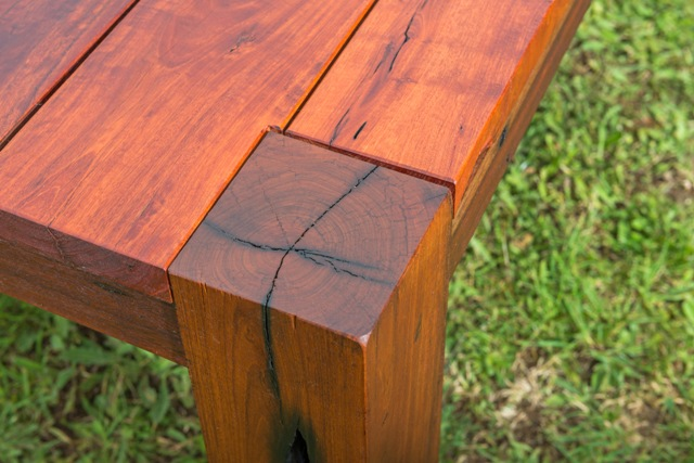 Solid recycled timber leg