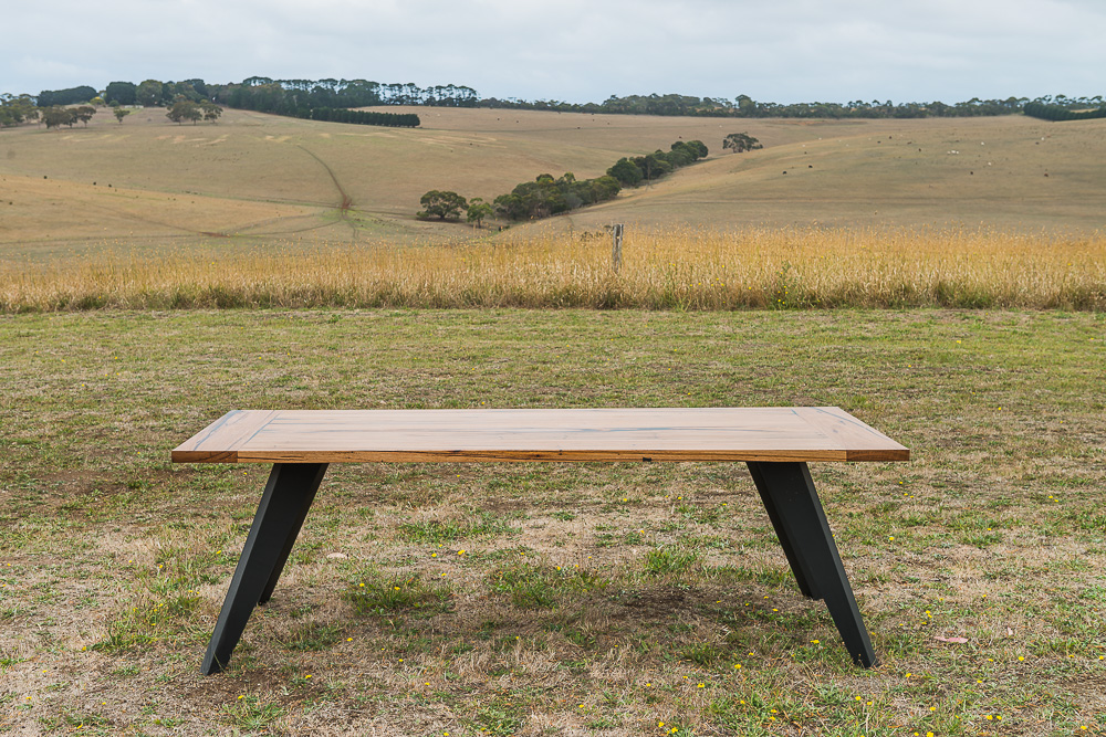 recycled Messmate timber dining table with black legs