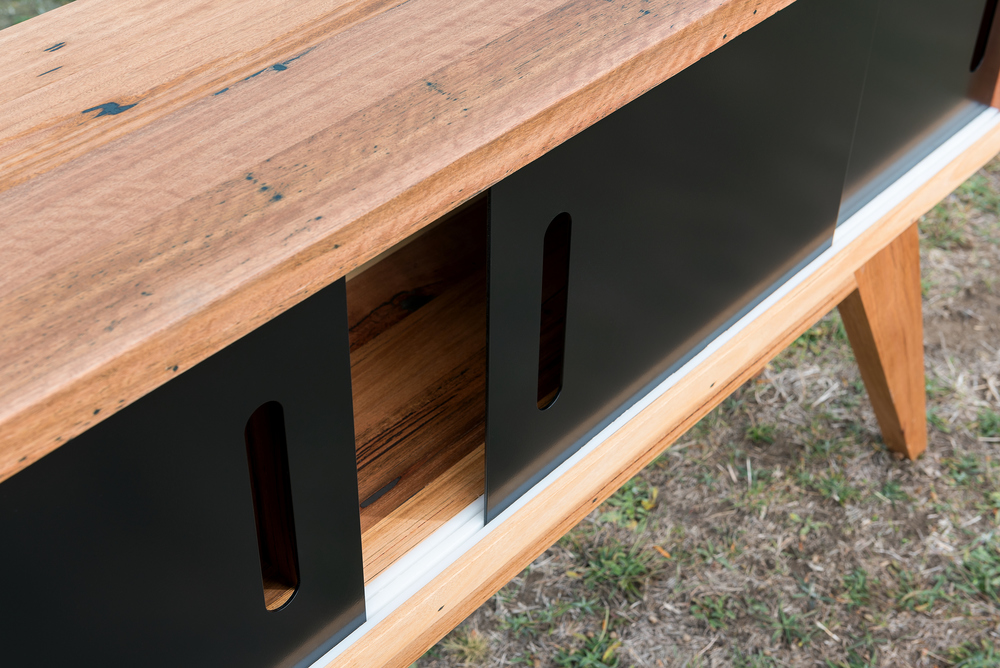 timber and matte black metal sideboard