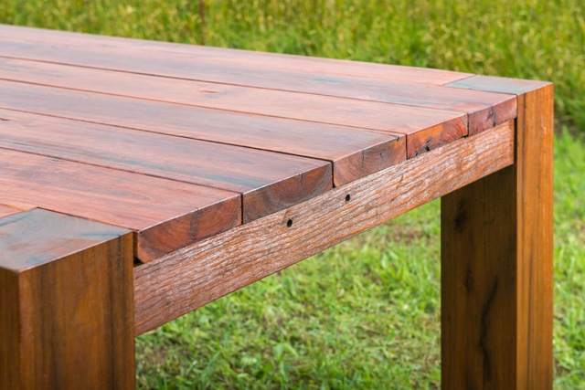 recycled timber outdoor table
