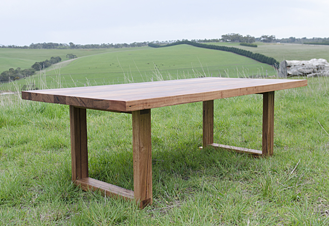 Chunky box leg dining table