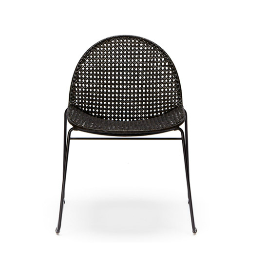 modern black rattan dining chair