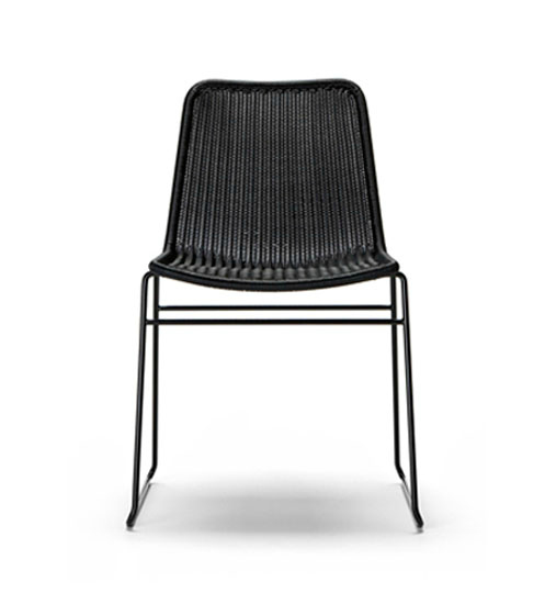 modern black outdoor dining chair