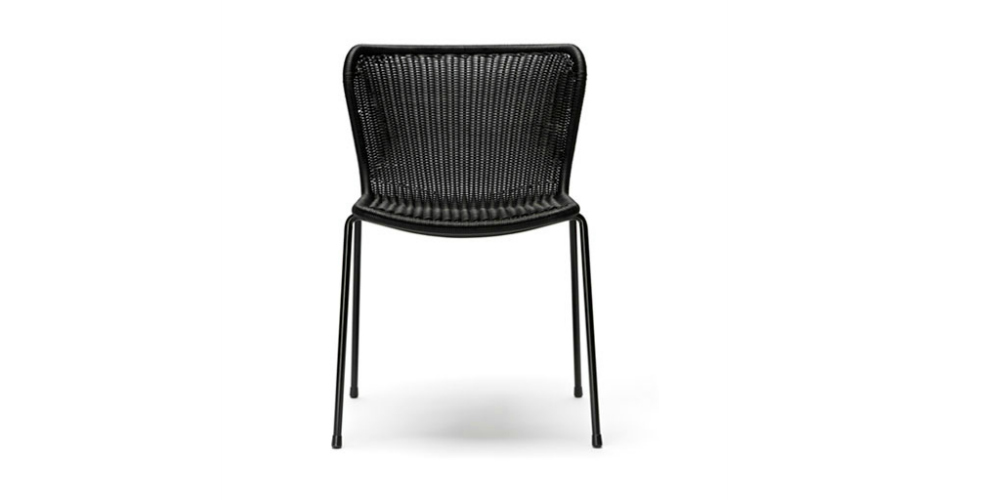 black woven outdoor dining chair