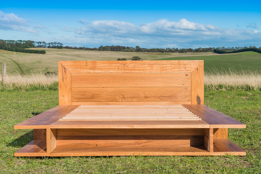 reclaimed timber custom made bed