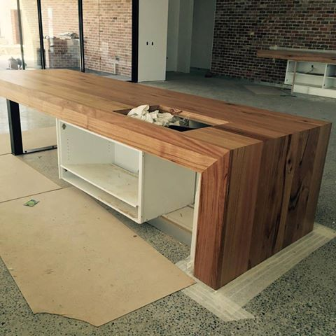 waterfalled timber kitchen island bench