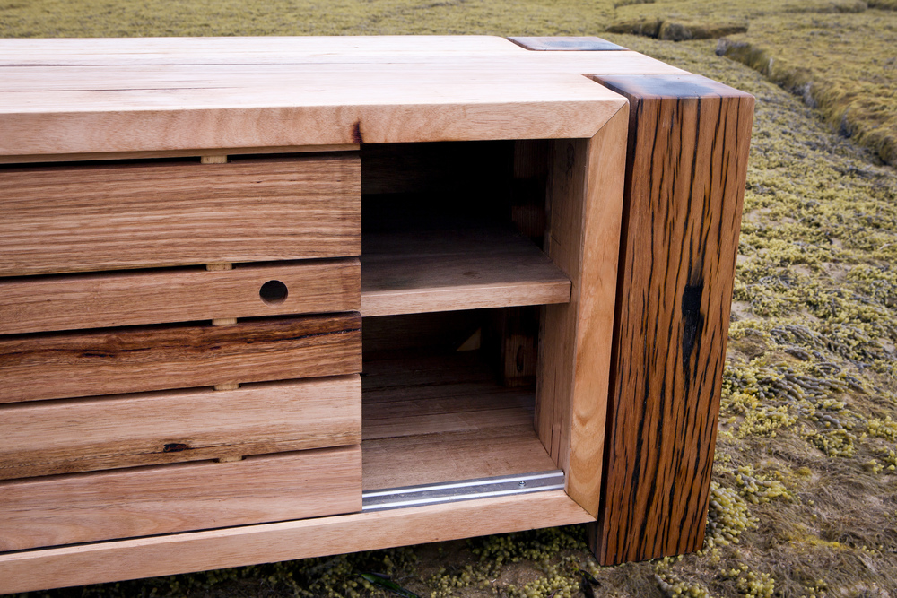 feature timber tv unit