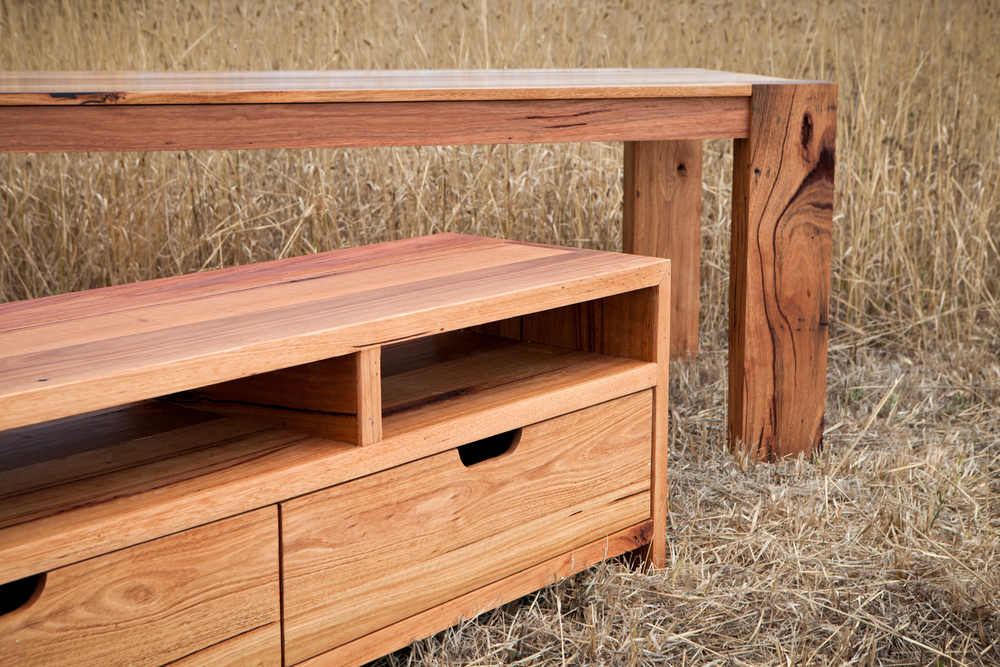 character filled timber tv unit