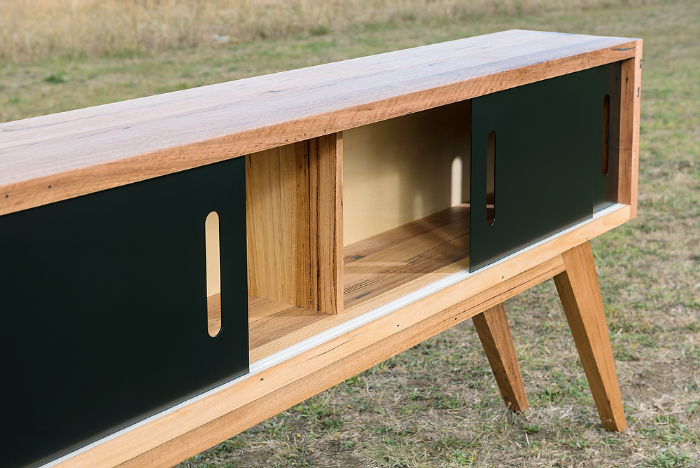 modern timber and black metal sideboard