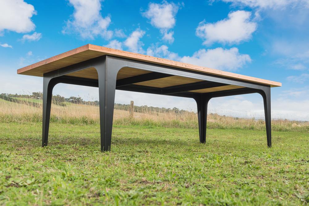custom timber and metal dining table geelong