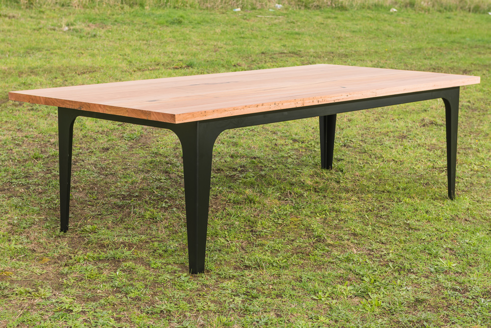 recycled timber and metal dining table Torquay