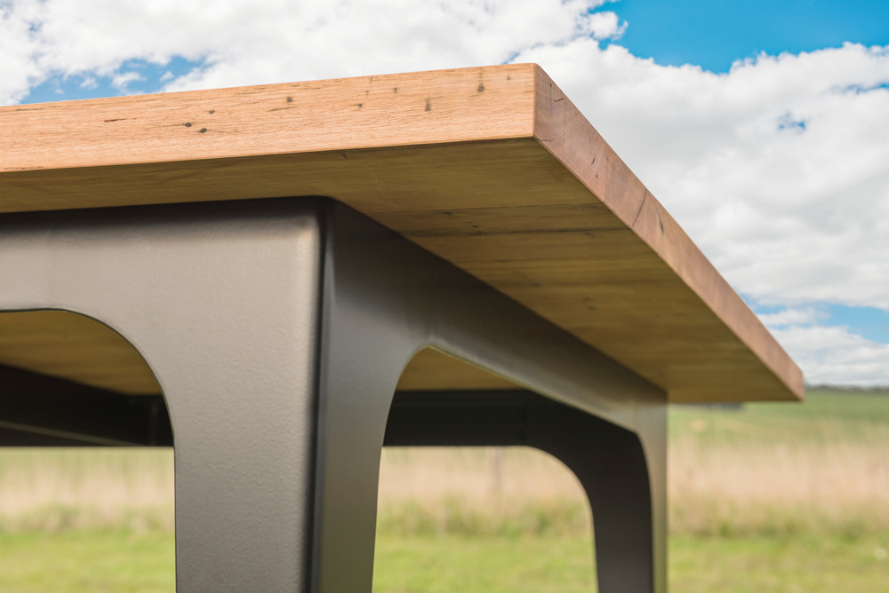 bespoke metal and timber dining table sydney