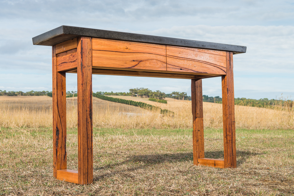 concrete and timber console