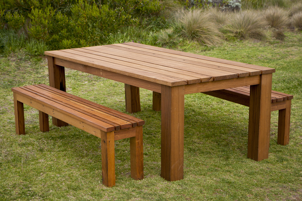 solid timber bench seat