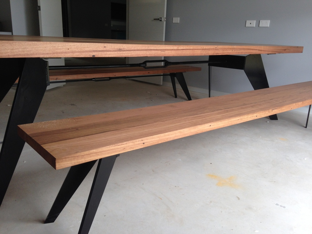 timber and metal bench seats