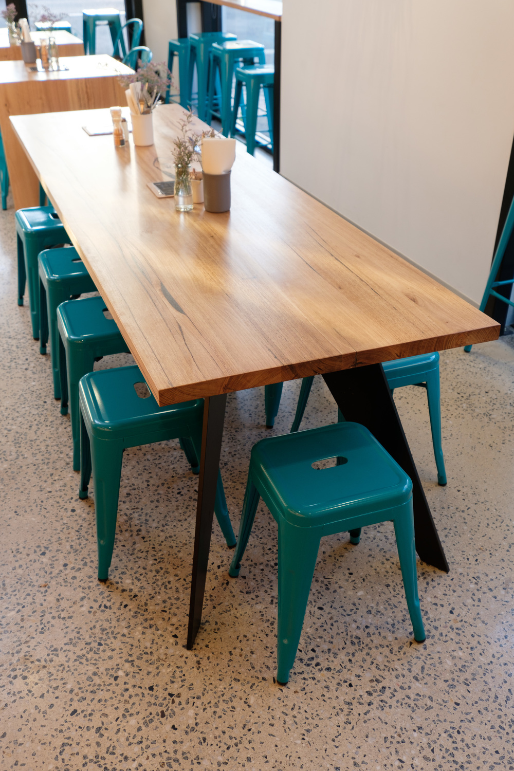 black powder coated leg communal cafe table
