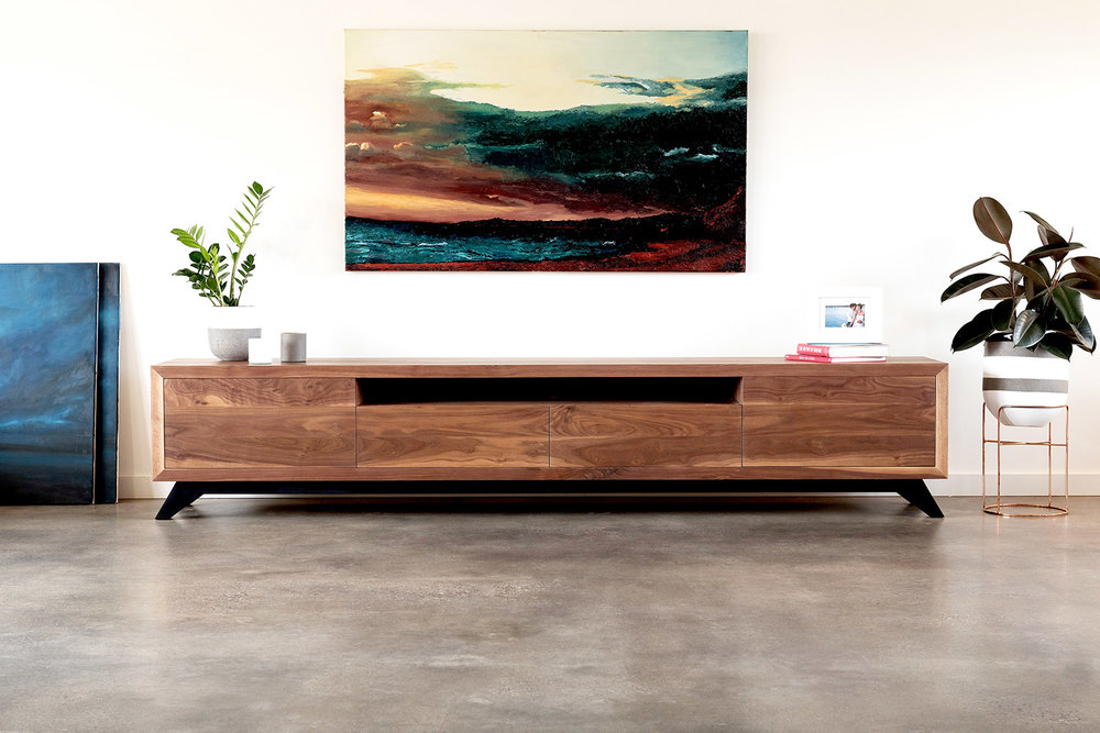 Walnut timber tv cabinet
