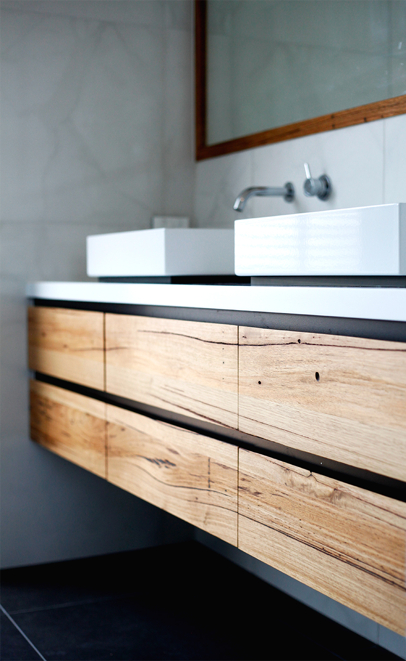 custom timber floating vanity