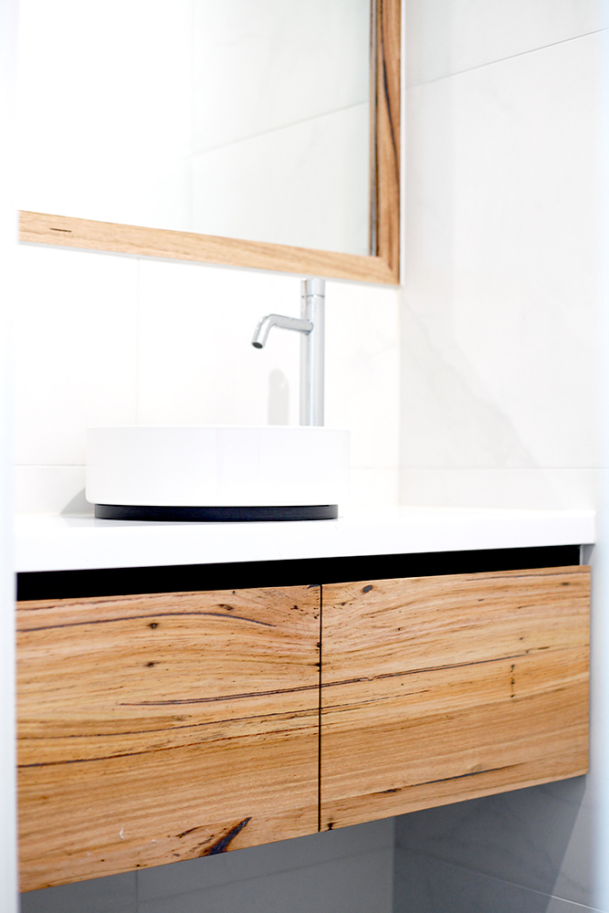 floating timber vanity with doors