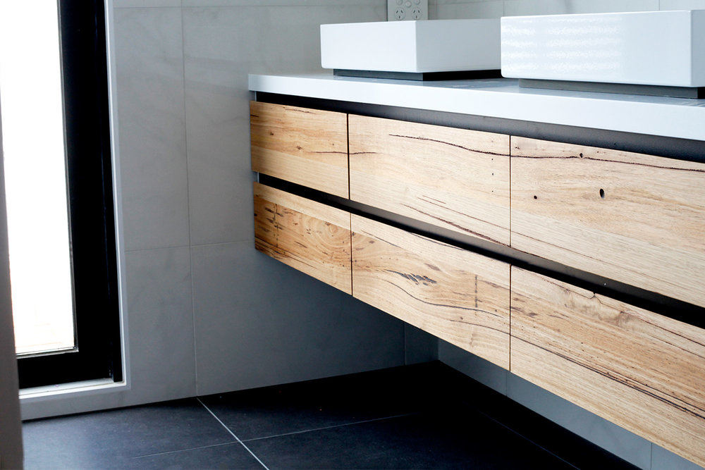 floating timber vanity