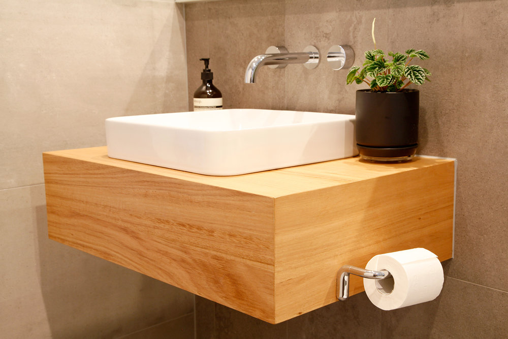 small floating timber vanity