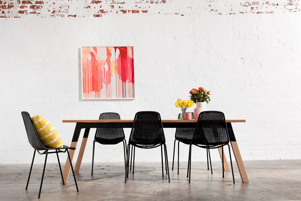 Local artist Rowena Martinich's print with Zeele dining table