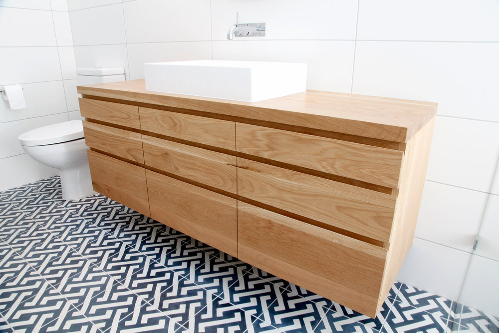 Floating vanity from sustainably harvested timber