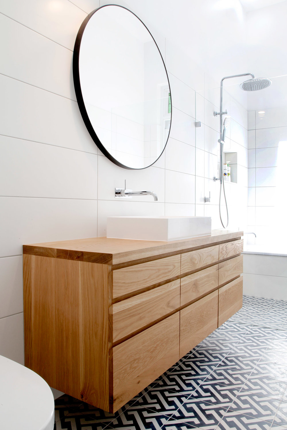 floating timber vanity american oak