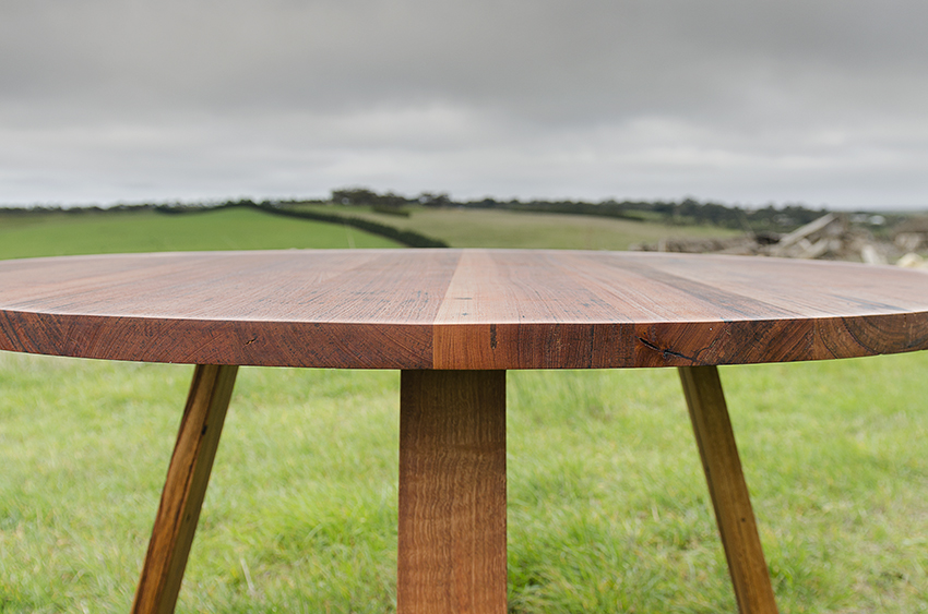 round dining table. recycled timber furniture design blog