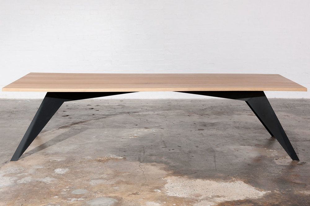 Metal and timber dining table