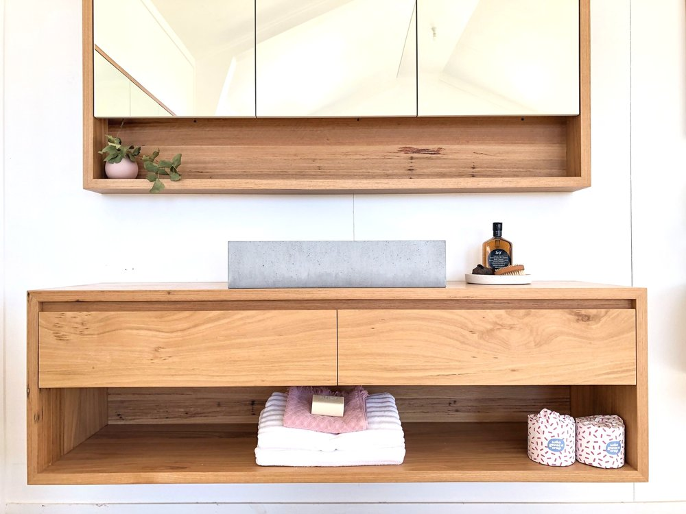 Timber vanity with open shelf