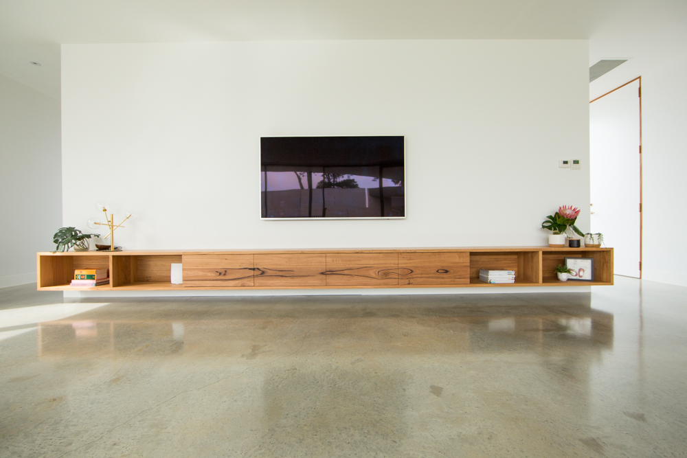 Large timber floating TV unit