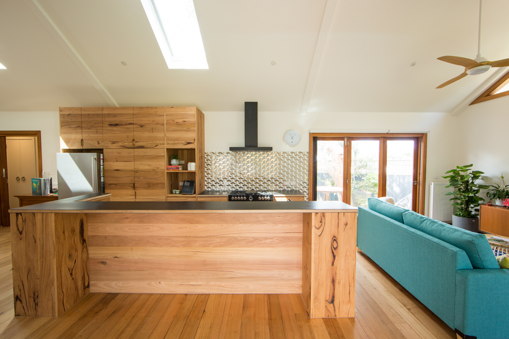 Timber kitchen island with breakfast bar