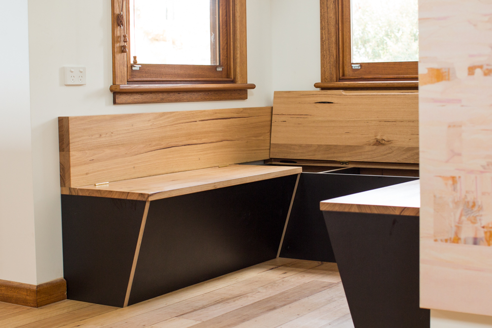 Inbuilt timber bench seat with storage