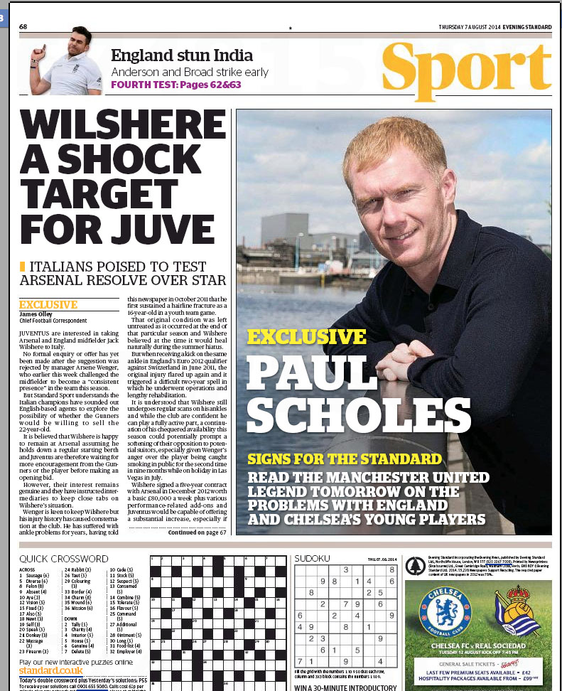 Evening Standard Paul Scholes