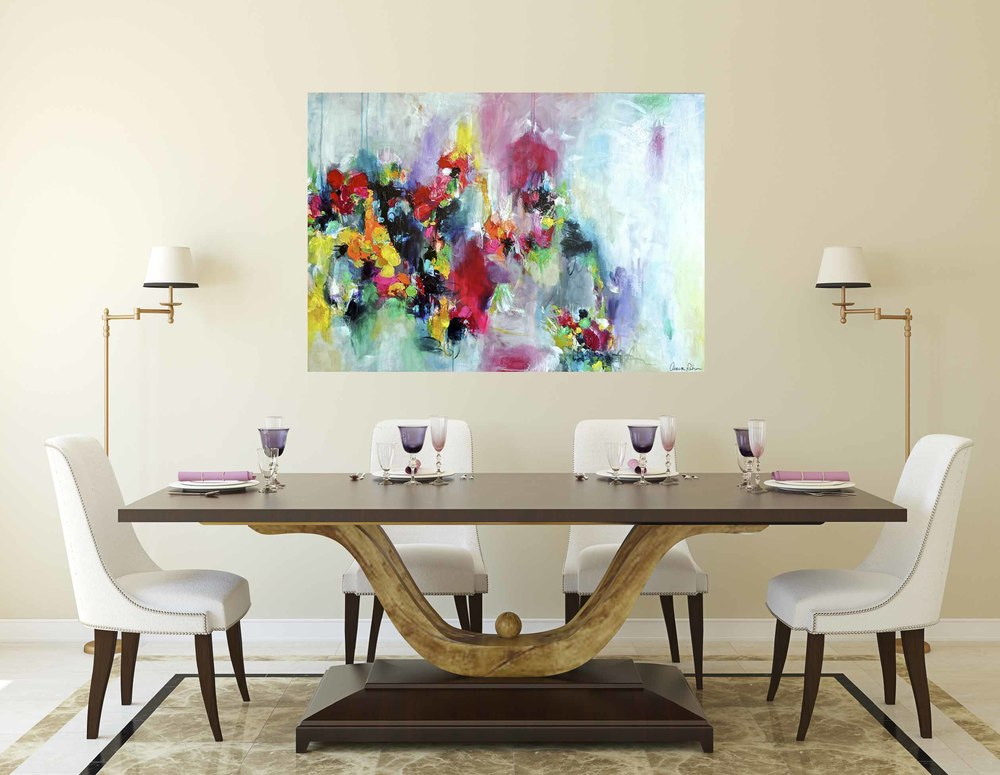 """Fae  Flowers"" featured in this modern dining room. Digitally rendered to provide an alternative visual perspective."