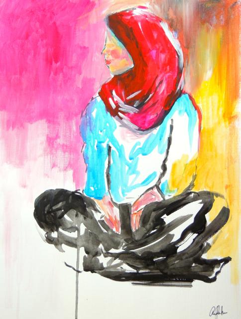 """Hijab Figure Study"" 12x16"" on paper SOLD"