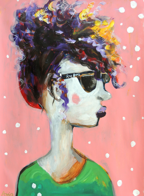 """Ray Bans"" 16.5x23.7"" acrylic on paper, Available"