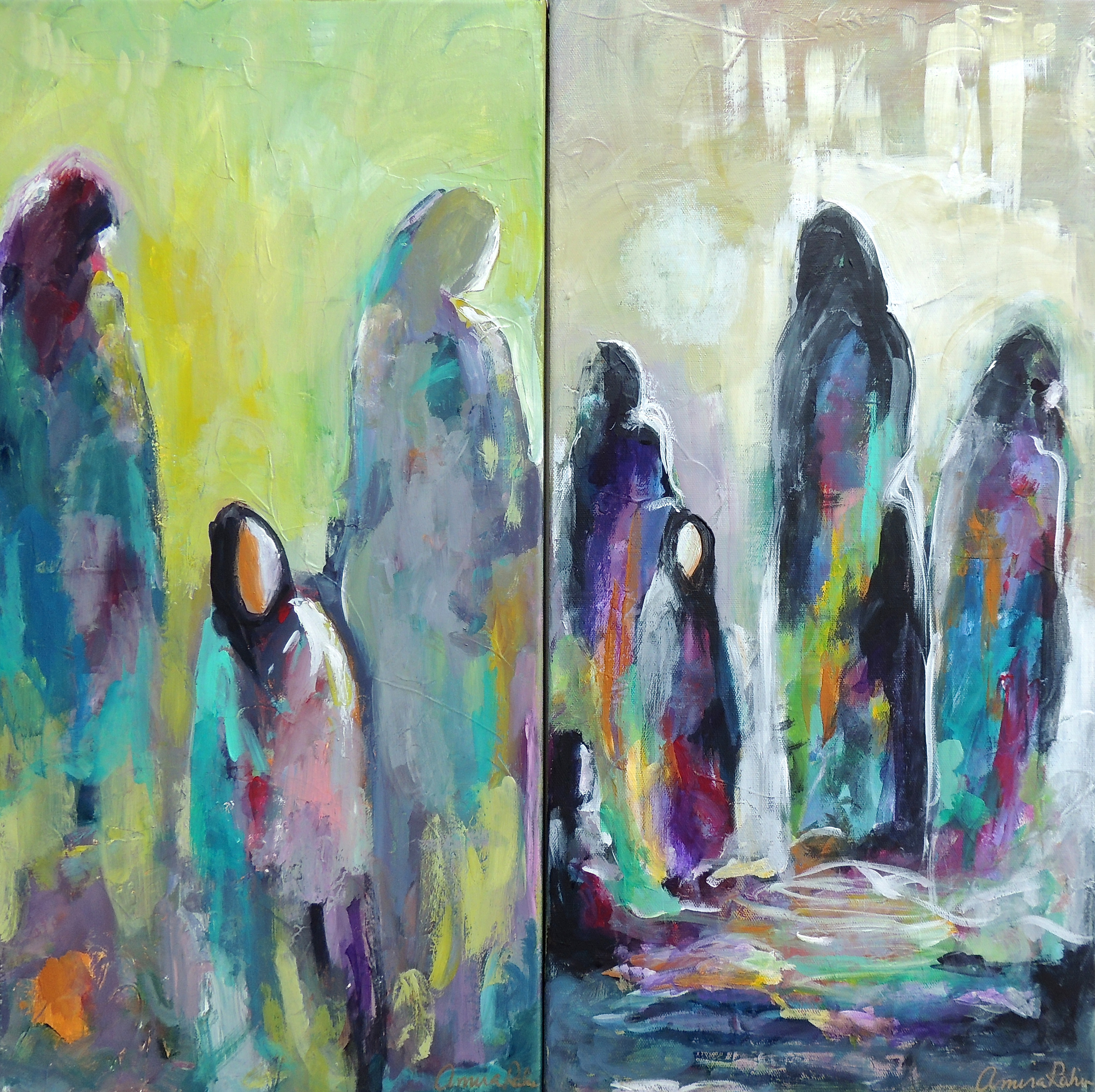 """Sisters"" and ""Tahajjud"" 24x24"" acrylics on canvas"