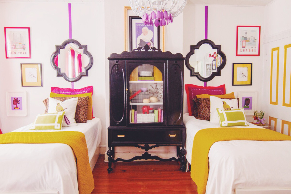The Room Was Designed With Her Daughters In Mind Who Share Space Art Mirrors Dressing Table And Look At Those Pillows